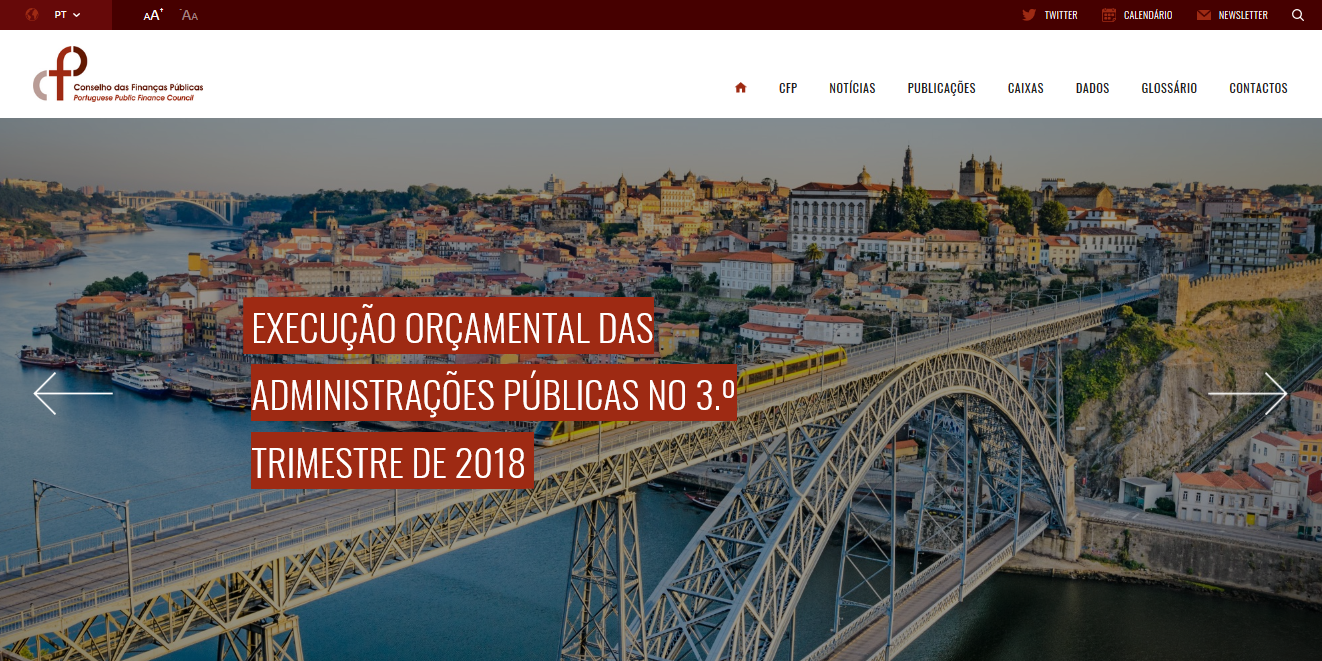 Homepage do novo site do CFP